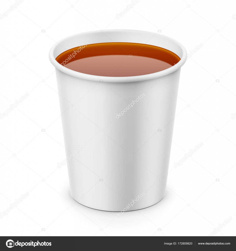 White Paper Cup With Tea Template Stock Vector