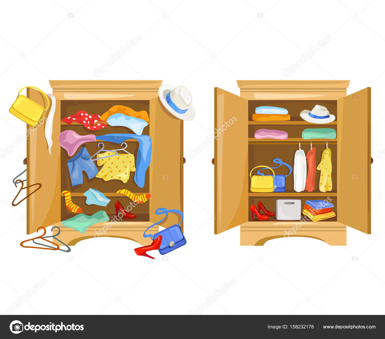 Wardrobes With Clothes Tidy And Clutter In The Closet Stock Vector