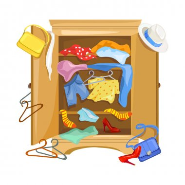 mess in the closet with clothes