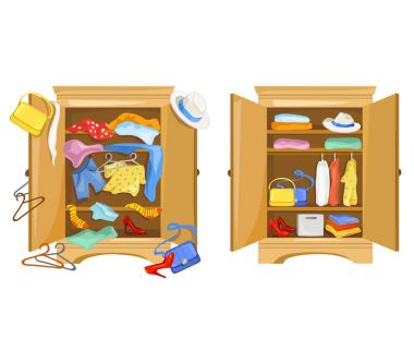 wardrobes with clothes. tidy and clutter in the closet