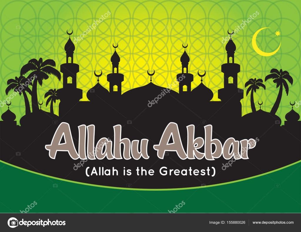 Allah Akbar Musique allahu akbar with mosque silhouette — stock vector © tujuh17belas