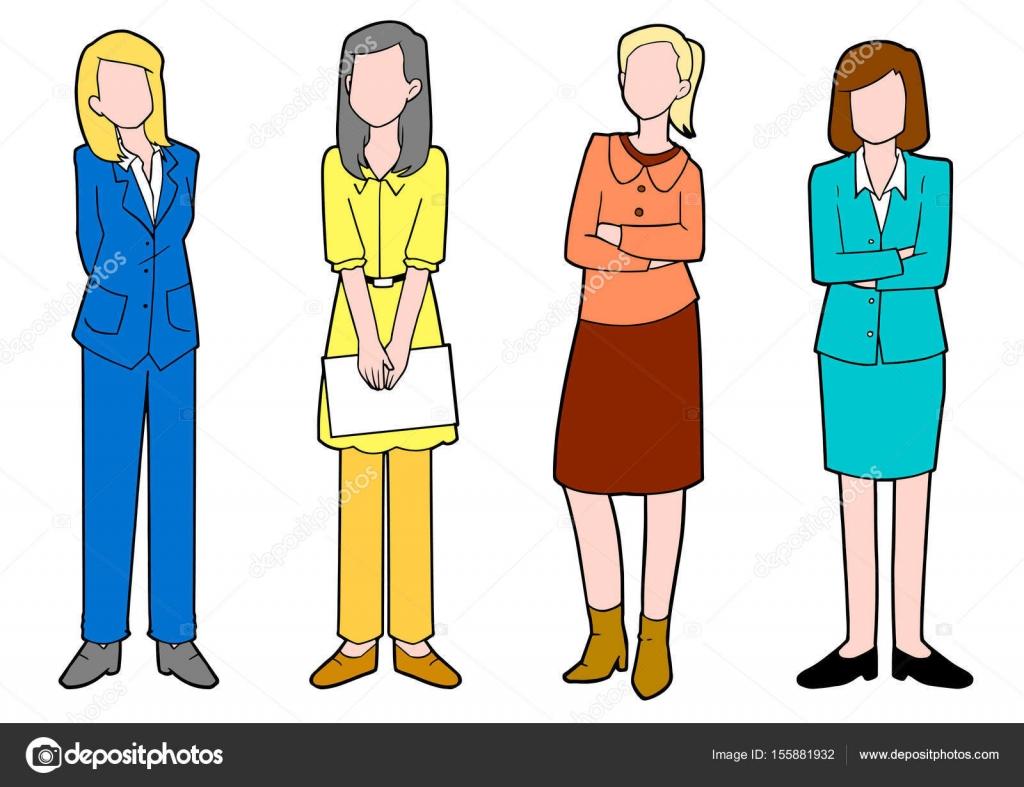 Mujeres Trabajando Caricatura
