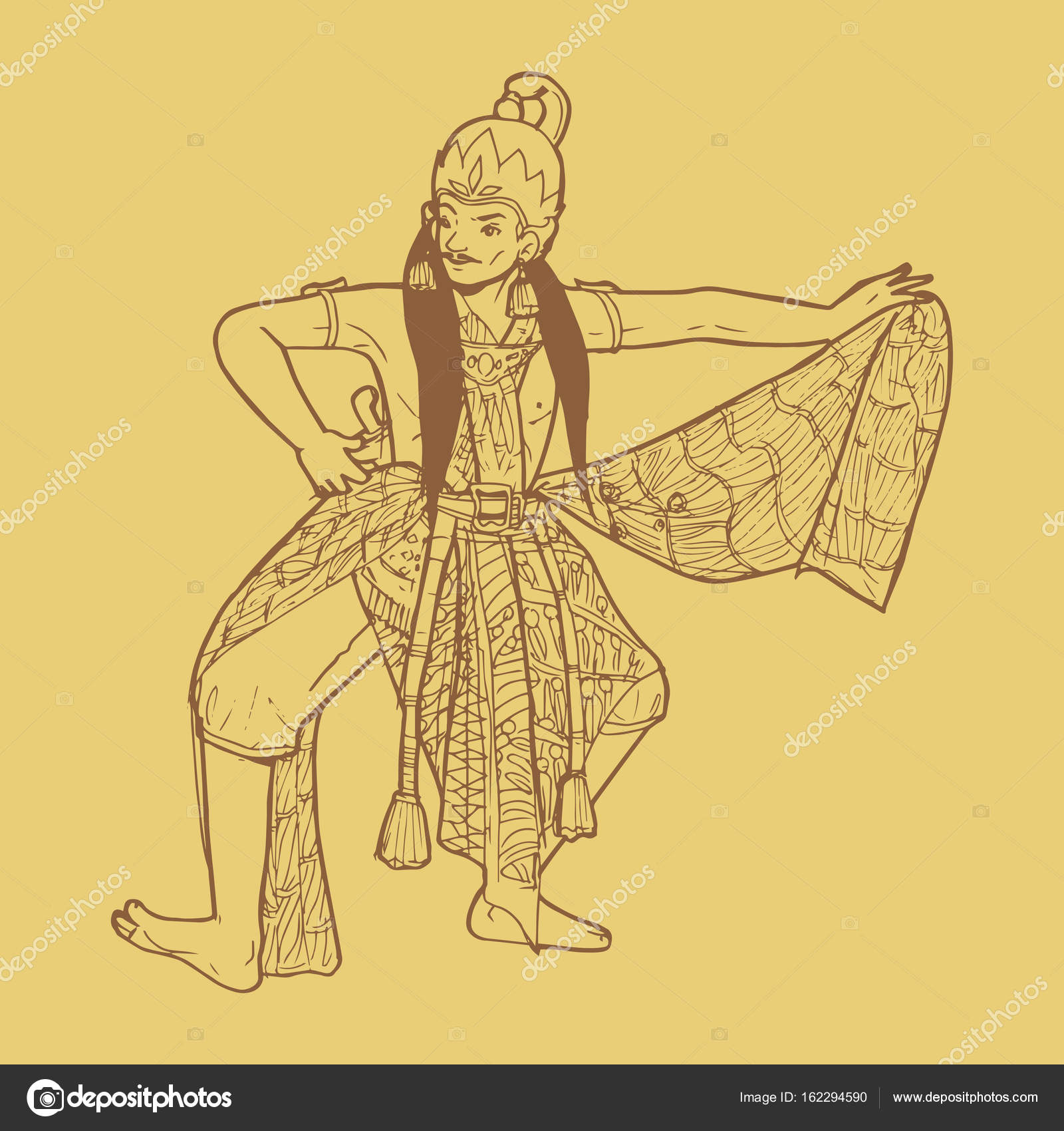 Traditional indonesian dance from java stock vector