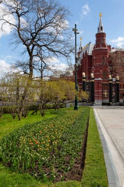 Russia, Moscow, May 2020.  Alexander Garden without people. Empty streets of the city. Quarantine in Moscow. A city without people. Spring sunny day.