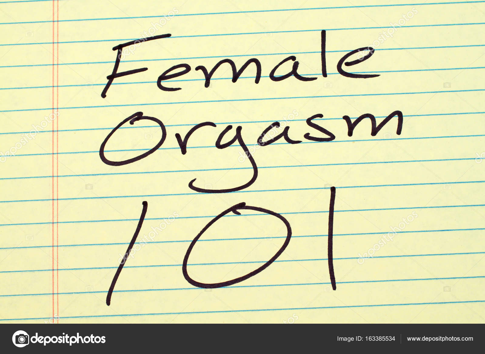 Female Orgasm 101 On A Yellow Legal Pad — Stock Photo