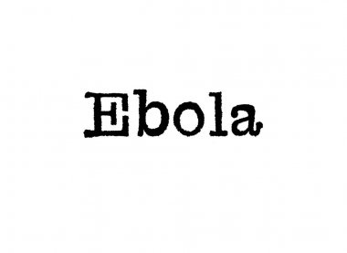 The word Ebola from a typewriter on a white background