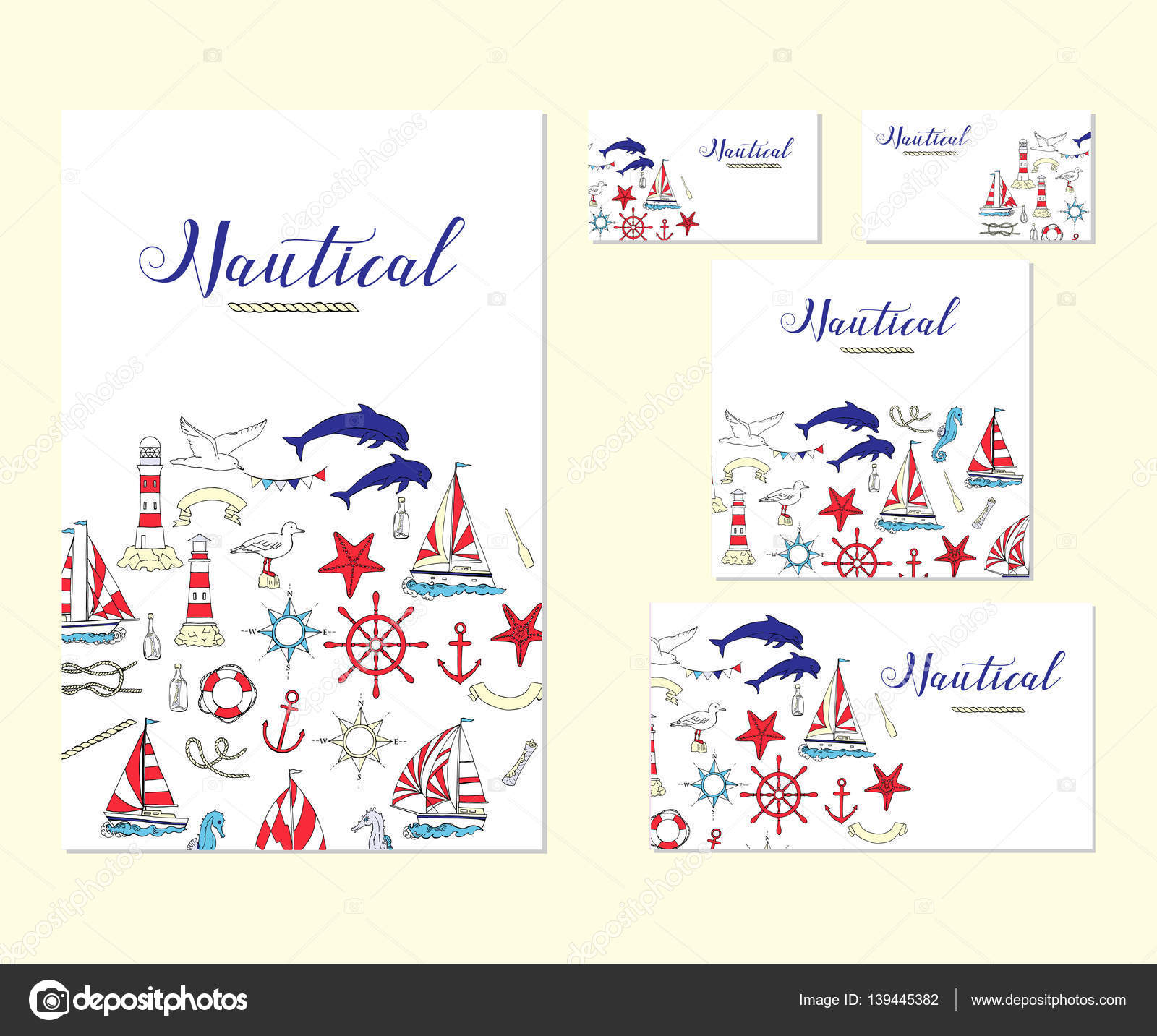 Template corporate identity with nautical elements — Stock Vector ...