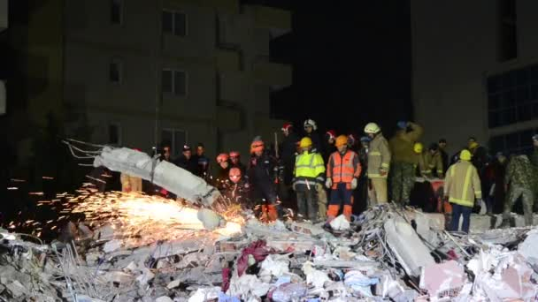 Durres, Albania 26 November 2019: Searching for missing people after earthquake. Albania hit by deadly and strong earthquake. Rescuers in action. Disaster