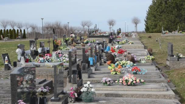 Cemetery with gravestones and flowers during day time