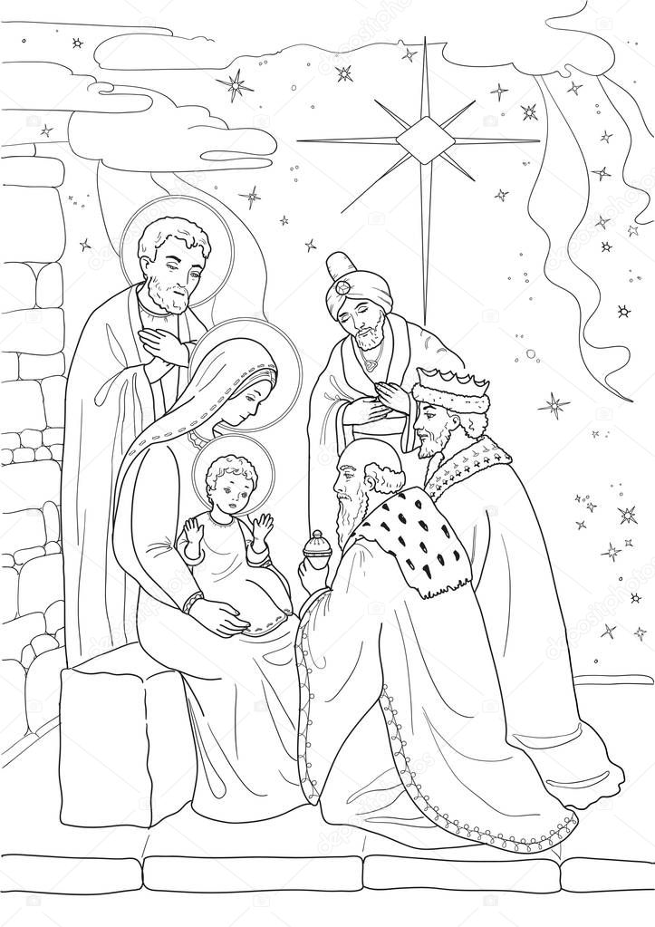 Christmas Coloring Page With Baby Jesus Mary Joseph Three Wise Men Black And White Premium Vector In Adobe Illustrator Ai Ai Format Encapsulated Postscript Eps Eps Format
