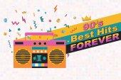 Fotografie Best of 90er Retro Poster. Stereo-Kassettenspieler