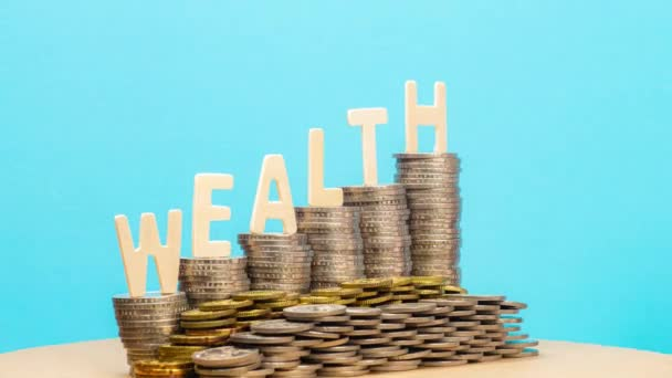 Stop motion of wealth increasing - pan and zoom in effect.