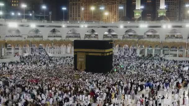 Stop-Motion muslimischer Pilger führt Umrundung des schwarzen Steins (oder Kaaba) in Mekka, Saudi Arabien durch.