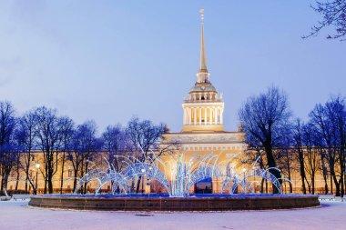 Christmas decoration St. Petersburg. Admiralty building night vi