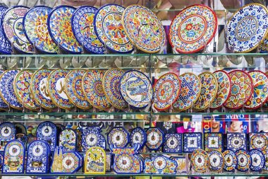 BARCELONA, SPAIN-17 September 2015: showcase souvenir shop with