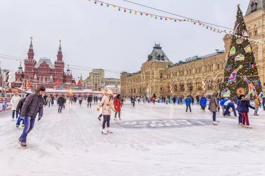 MOSCOW, RUSSIA - DECEMBER 7, 2016: ice skating rink on Red Squar