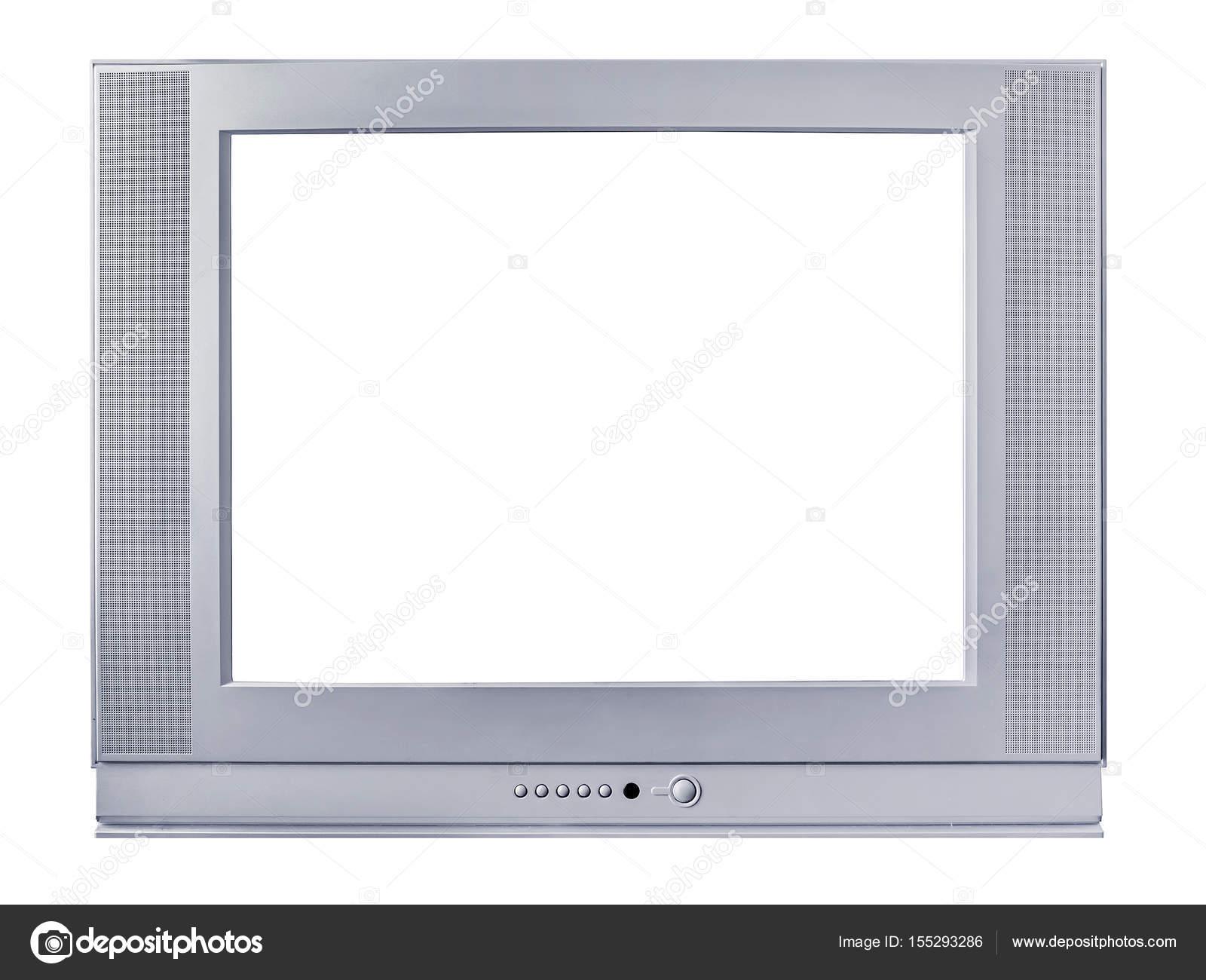 Marco plateado de un televisor sobre un fondo blanco — Fotos de ...