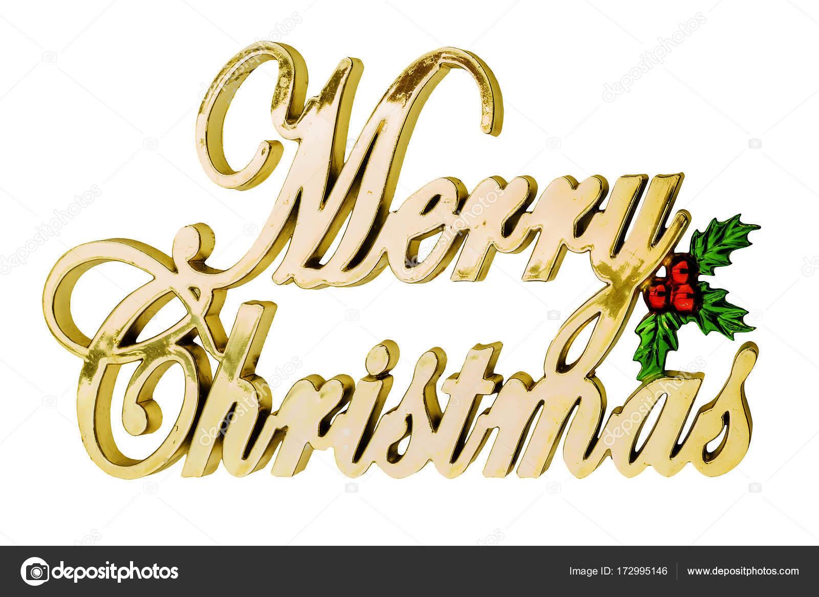 Buchstaben Frohe Weihnachten.Die Inschrift In Goldenen Buchstaben Frohe Weihnachten Stockfoto