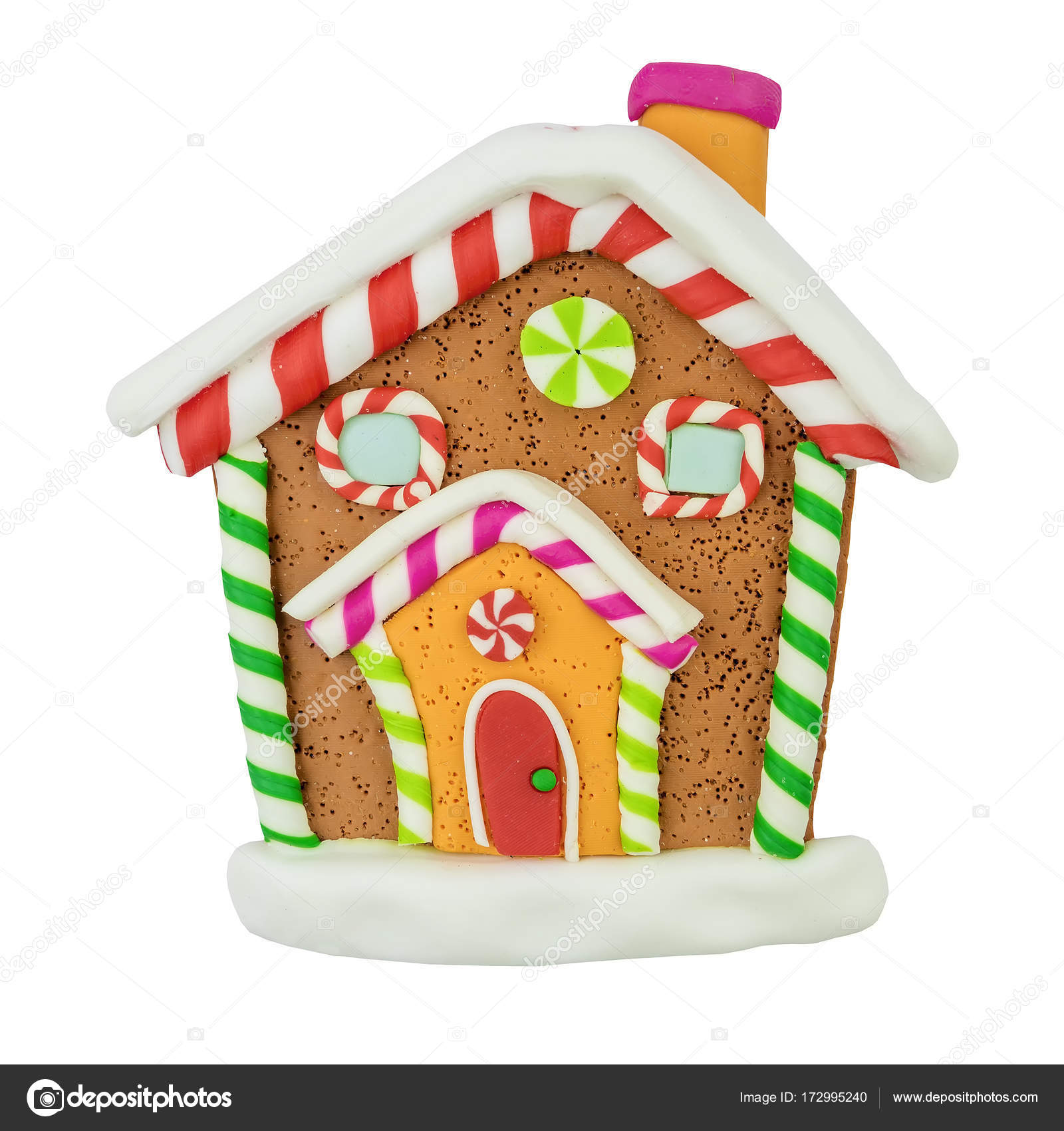 Christmas Gingerbread House Background.Christmas Gingerbread House On White Background Stock