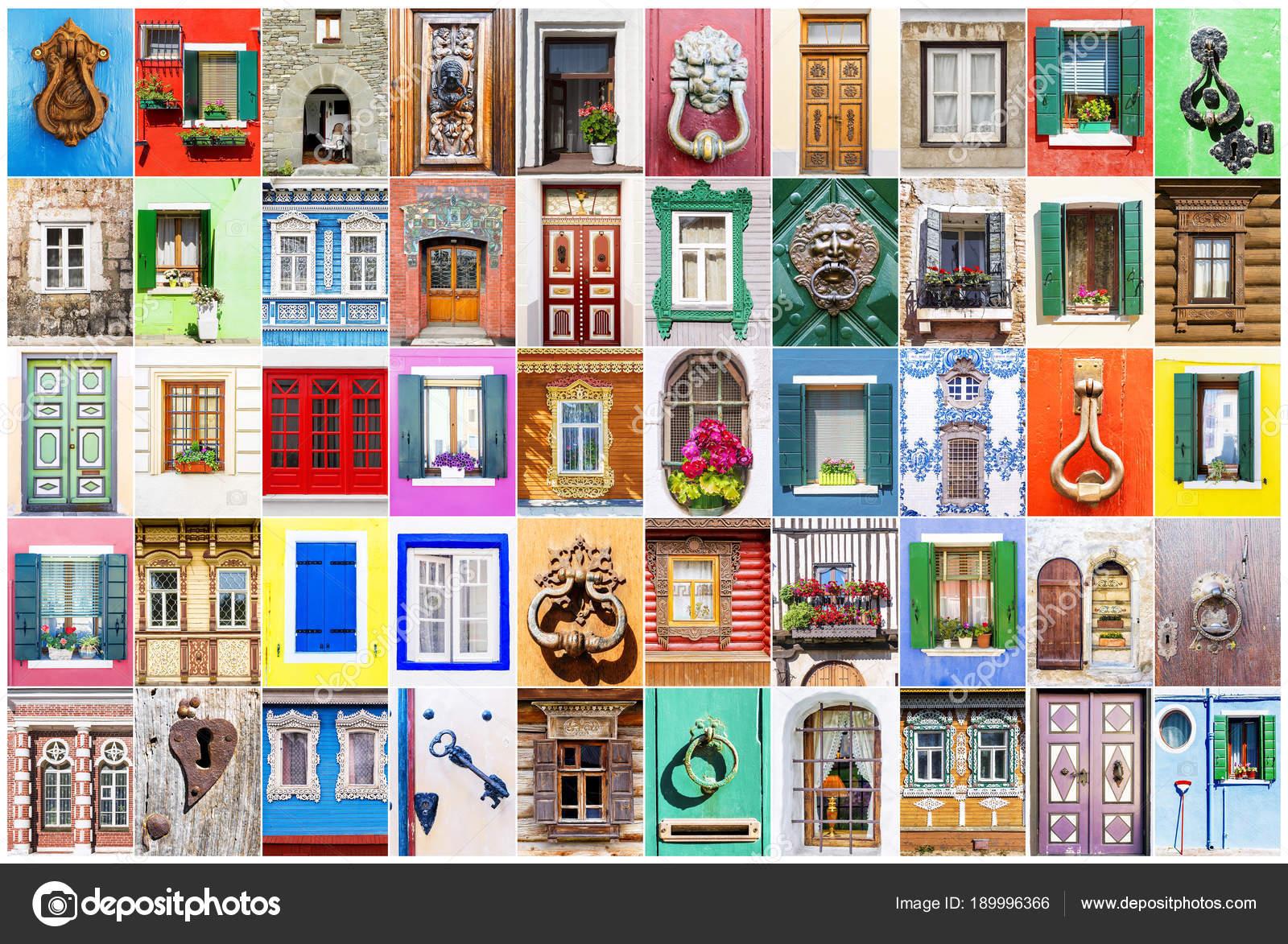 Collage of various windows, doors and door handles — Stock