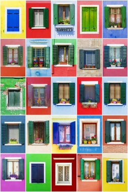 collage of windows from the island of Burano, Venice
