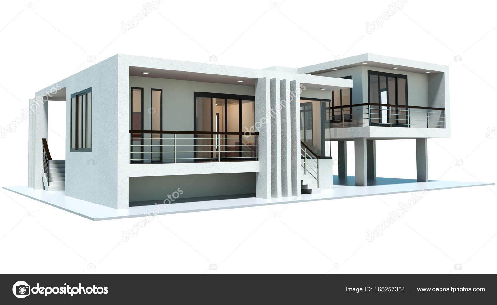 modernes Haus 3D-Rendering isoliert auf weißem Hintergrund ...
