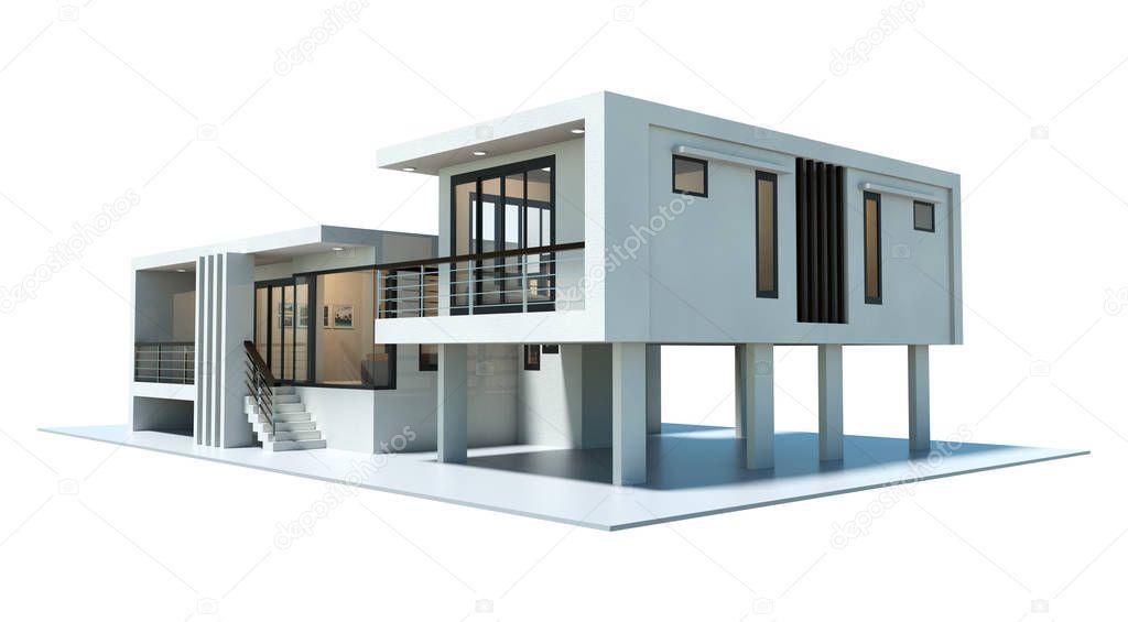 Renderiza o 3d casa moderna isolada no fundo branco for Casa moderna total white