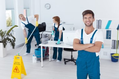 Man working for cleaning service