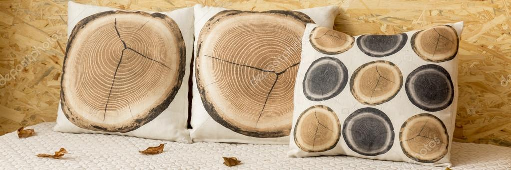 Wood slice pillow