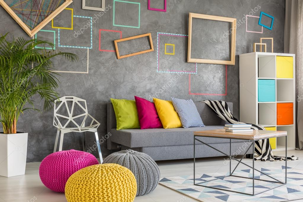 Colorful Living Room With Decorative Grey Wall And Wool Poufs U2014 Photo By  Photographee.eu