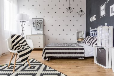 Creative black and white bedroom