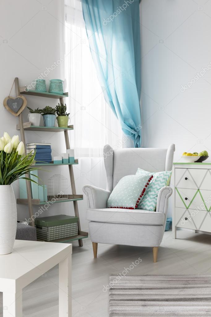 Comfortabele woonkamer interieur met fauteuil en stijlvolle plank ...