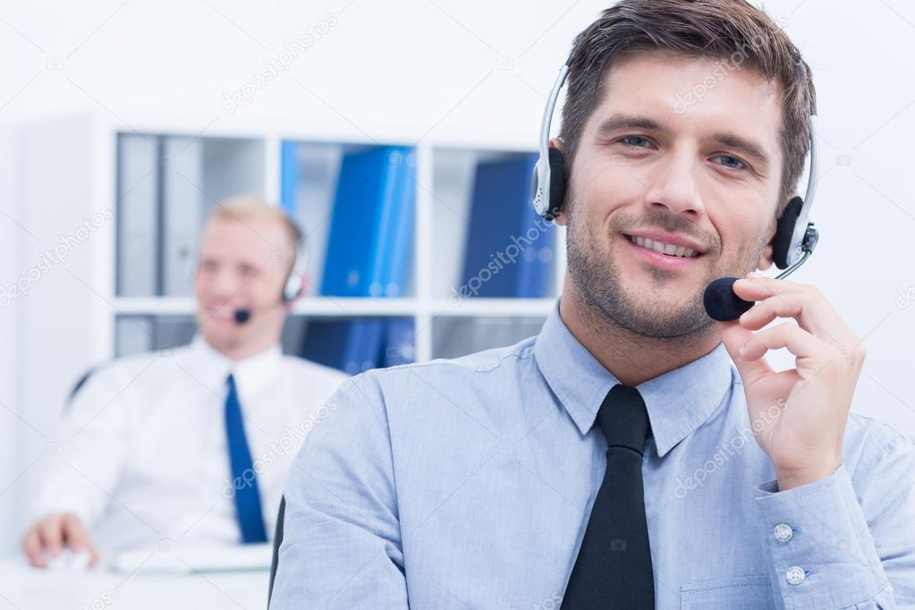 Customer service consultant wearing headset — Stock Photo ...