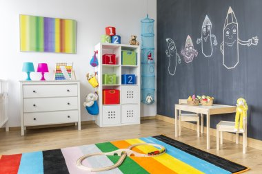 Child room with colorful rug