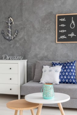 Home interior with nautical decorations