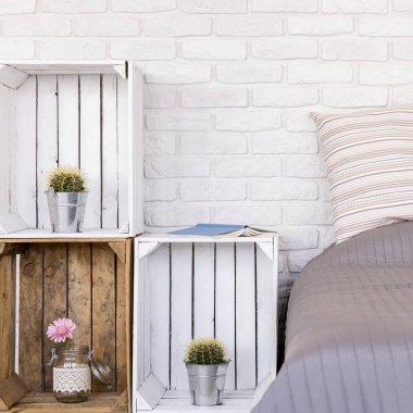 DIY wooden furniture in bedroom