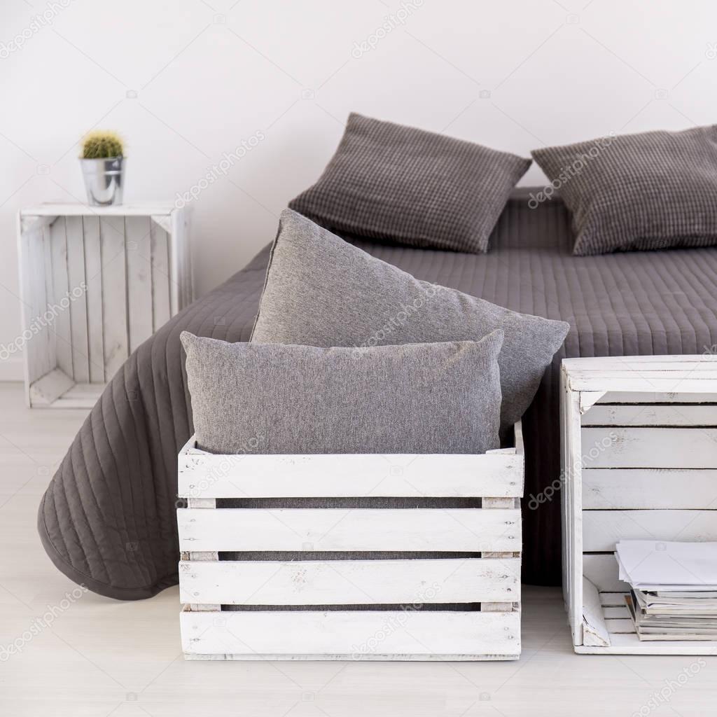 Dormitorio Contempor Neo Con Muebles Hechos A Mano Foto De Stock  # Muebles Hechos A Mano