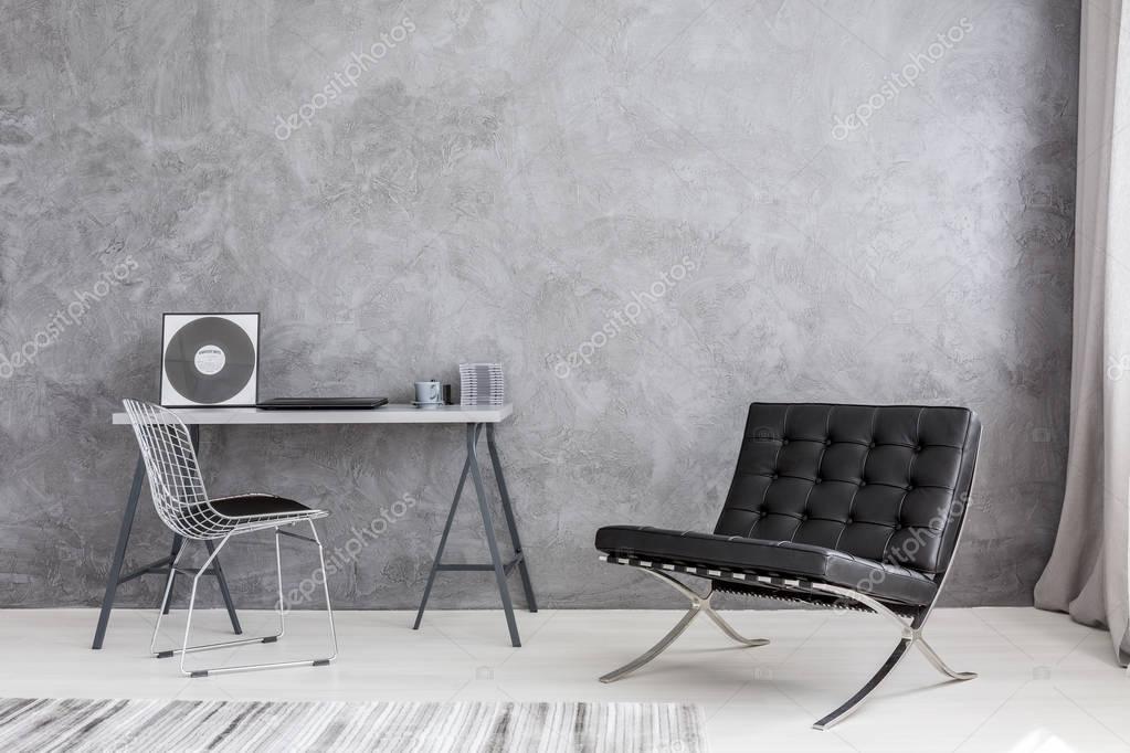 Moderne Muziek Woonkamer : Moderne lounge stoel en muziek collectie u stockfoto