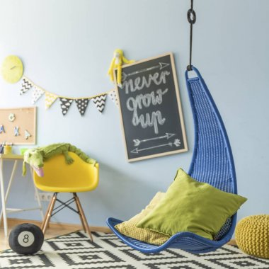 Children's room with a hanging chair
