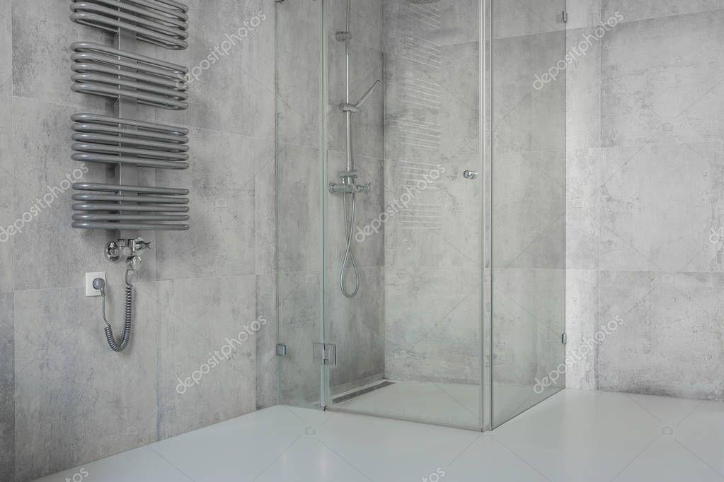 Betonowe Płytki W łazience Nowoczesne Przestronne Zdjęcie