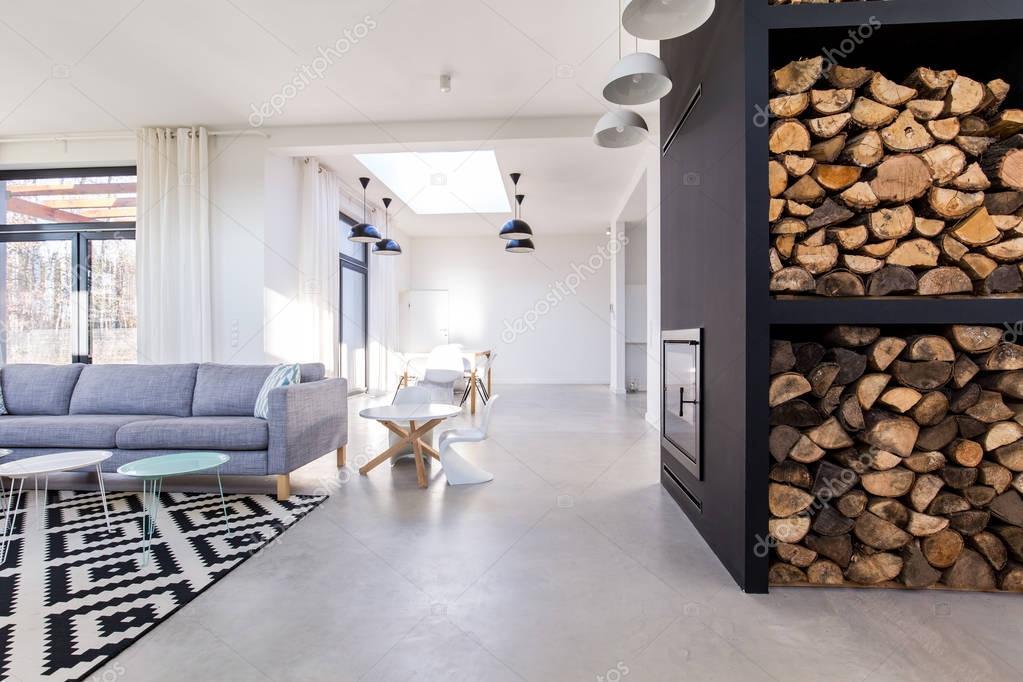 Betonnen Vloer Woonkamer : Wit woonkamer in minimalistische stadsvilla met betonnen vloer