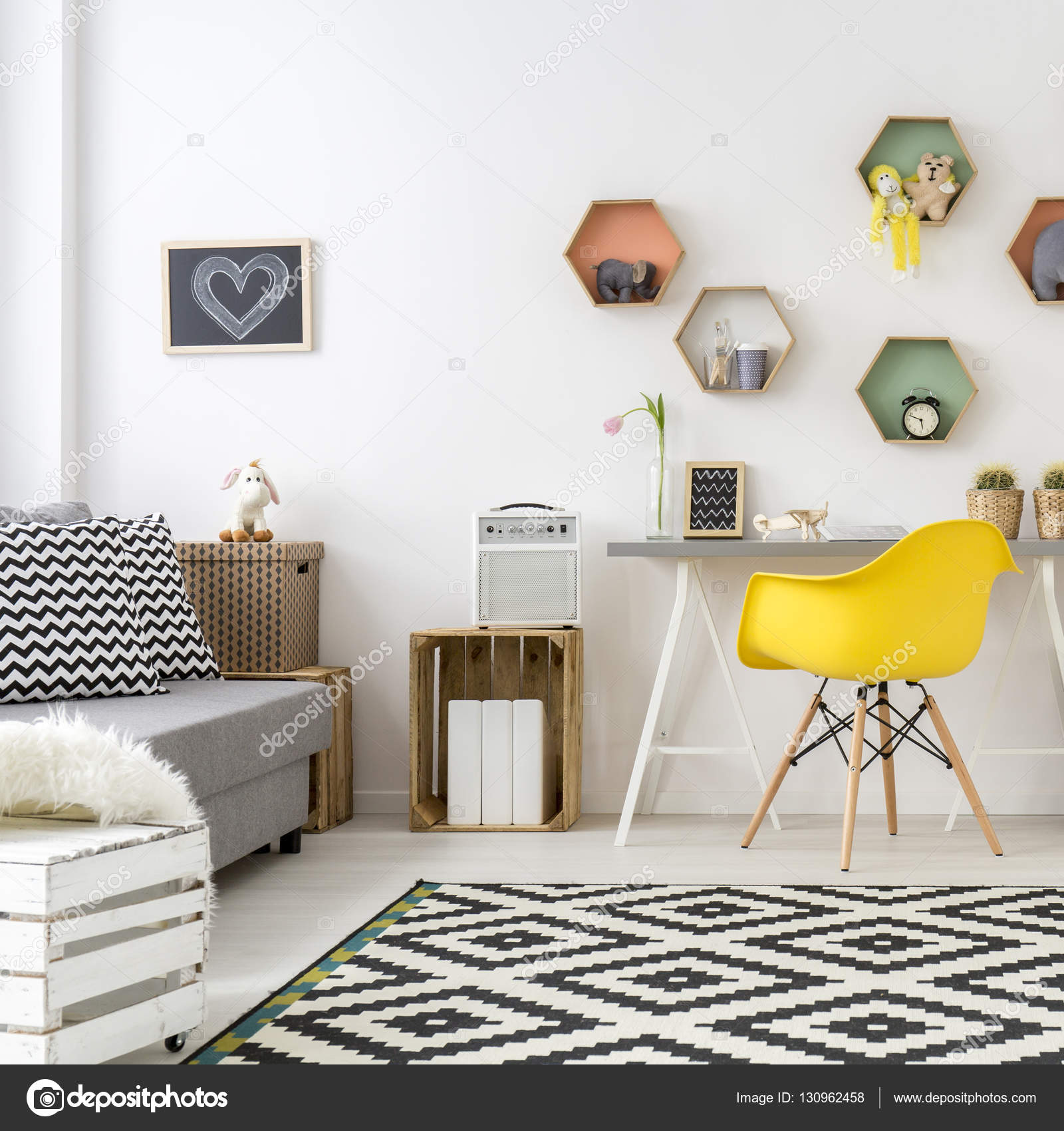 Teenage chambre dans le style scandinave — graphie