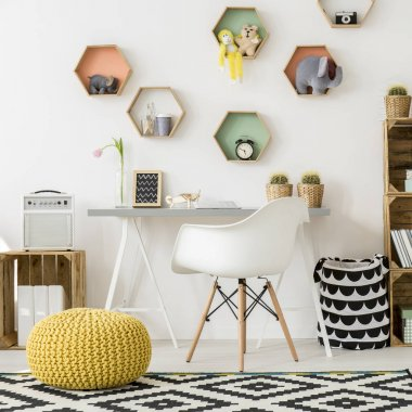 Room for kids with colorful shelves