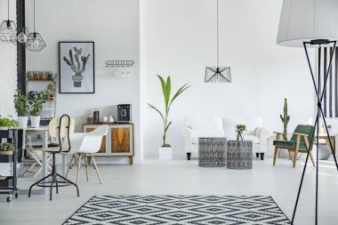 Loft interior in scandinavian style