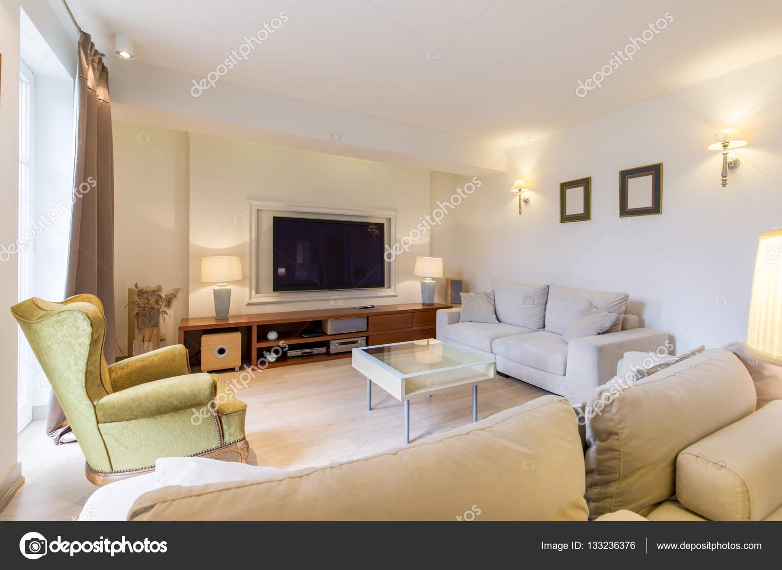 Gezellige woonkamer met Tv — Stockfoto © photographee.eu #133236376