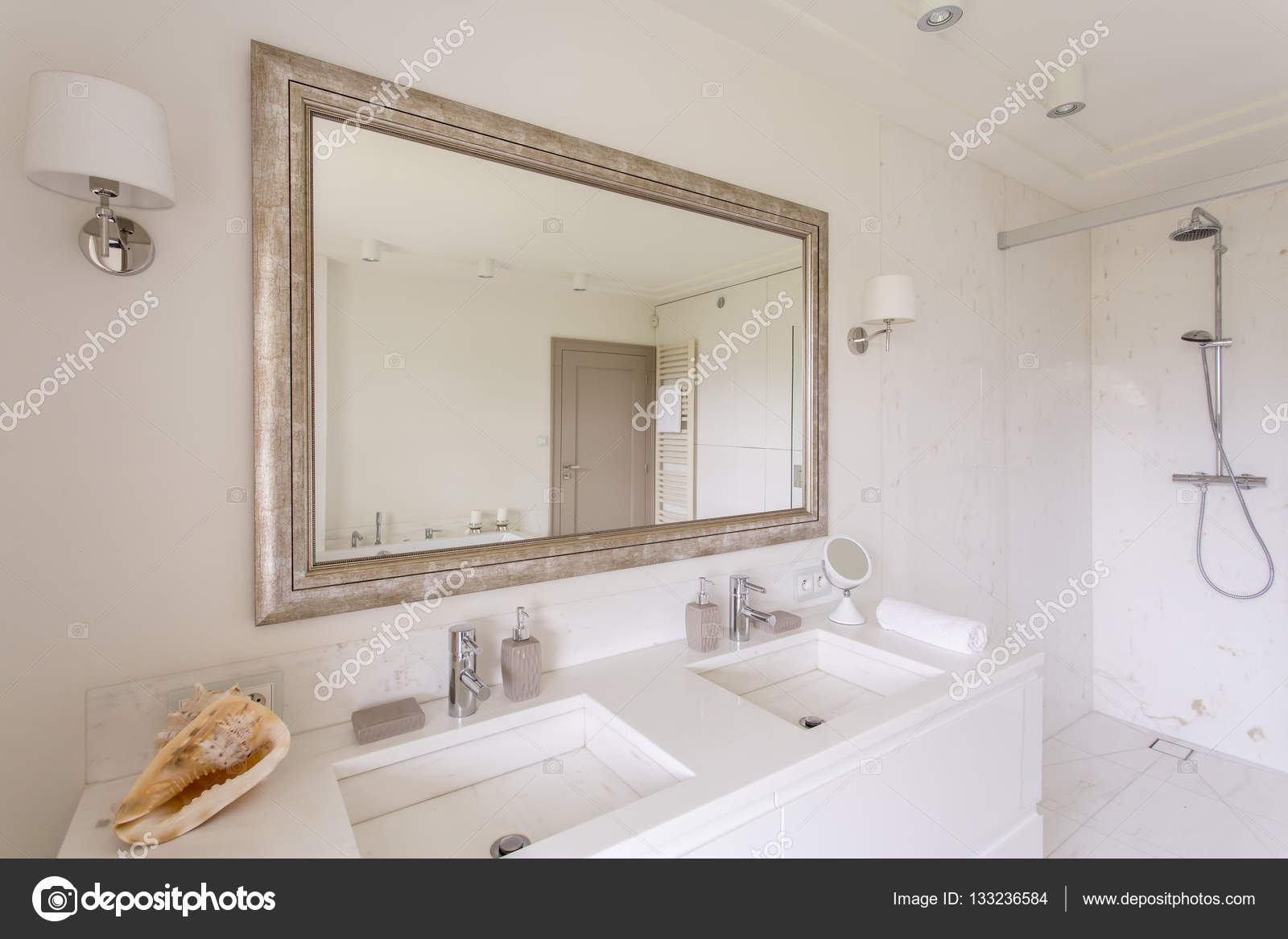 Minimalist Bathroom With Large Mirror In A Decorative Frame And Two Marble  Sinks U2014 Photo By Photographee.eu