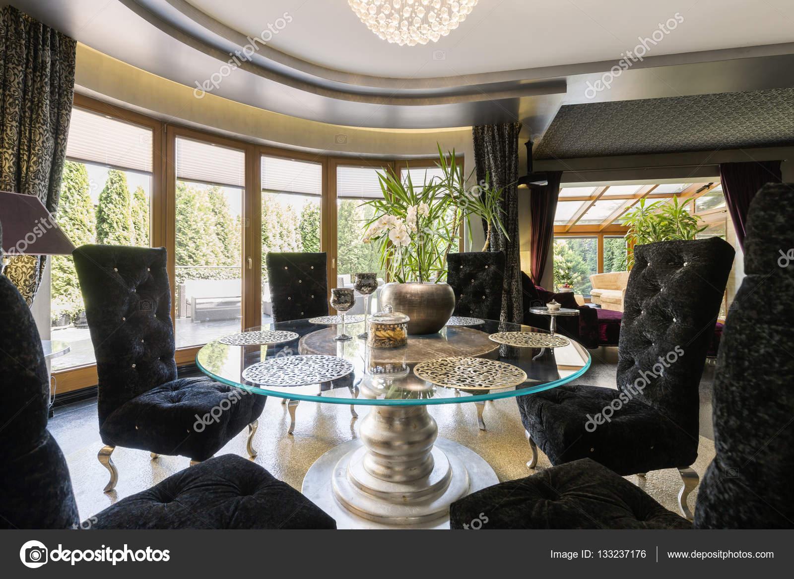 Luxus Esszimmer Mit Glastisch Stockfoto C Photographee Eu 133237176