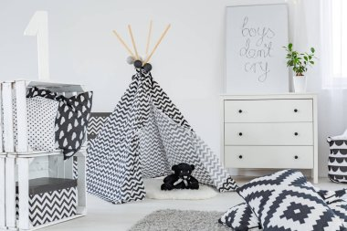 Kid bedroom with play tent