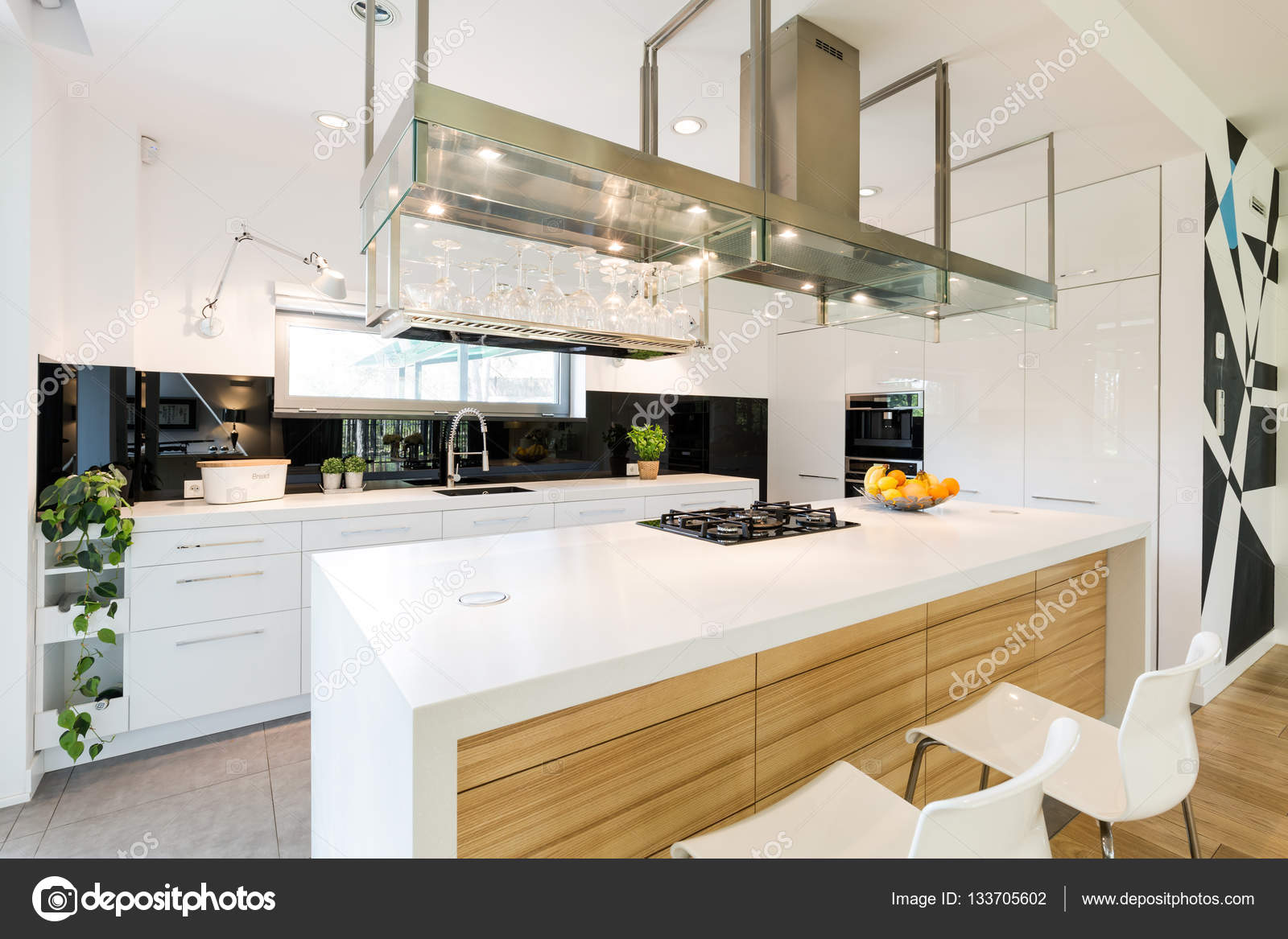 Loft Kitchen With Large Worktop U2014 Stock Photo