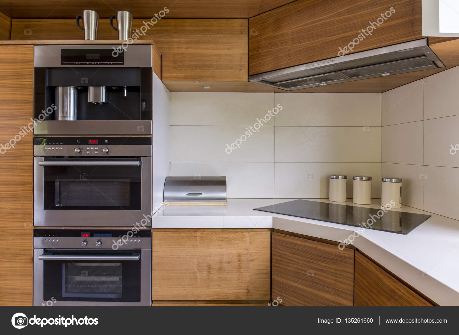 Modern kitchenette with wooden furniture stock photo for Kitchenette furniture